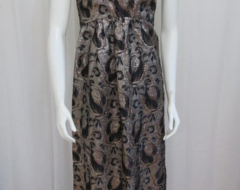 1960's  Union Labeled black and silver metallic brocade maxi dress size  XS