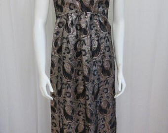 1960's Mad Men Union Labeled black and silver metallic brocade maxi dress size  S