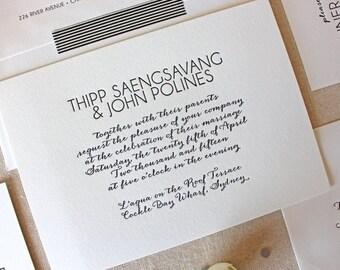 Letterpress Wedding Invitation - Soho Design - Calligraphy,Traditional, Elegant, Simple, Classic, Script, Custom, Formal, Modern