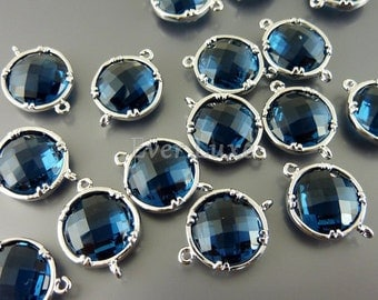 2 blue sapphire 12mm glass stones, faceted round glass links, jewelry supplies 5014R-BS-12 (bright silver, blue sapphire, 12mm, 2 pieces)