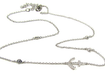 CZ Sideways Anchor Necklace with Bezel Cubic Zirconia in Sterling silver or Gold Vermeil