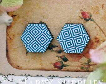 40% off - 8Pcs (CE021) Hexagon Handmade Photo Wood Cut Cabochon (Back Black)