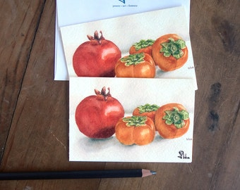 note card set, kitchen stationery, still life art print cards, persimmons and pomegranate
