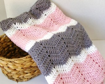 Crochet Baby Blanket, Crochet Baby Afghan in Pink, Grey, White Baby Girl