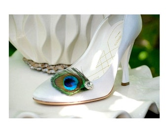 Sparkly Peacock Shoe Clips. Statement Stylish Couture, Iridescent Teal Green Aqua Navy Blue, Silver Gem, Bridesmaid Bride Bridal Accessory