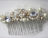 Pearl Crystal Bridal Comb, Vintage Crystal Rhinestone Jewels headpiece Hair Accessory, Crystal Pearl Veil Comb ivory champagne, pink pearl