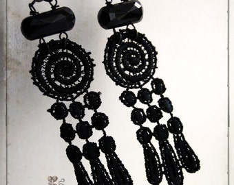 earrings - Spiral lace - tribal, mystic, psychic, gothic, mourning, victorian, ghost, ooak, lace