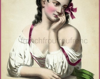 antique victorian french beautiful woman pinup la reverie lithograph