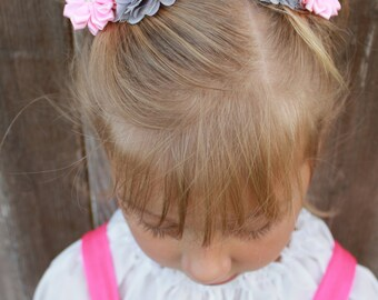 pink hair clip, grey hair clip, baby hair clip, toddler hair clip, child hair clip, girl birthday gift, flower girl hair accessories,