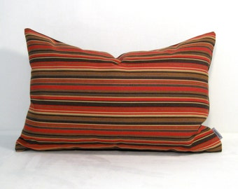 SALE - Brown & Red OUTDOOR Pillow Cover, Decorative Striped Throw Pillow Case, Gold Stripes, Modern Sunbrella Cushion Cover, Masculine Decor