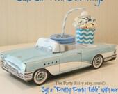 Car Food Box-Set of 6 Blue & White Car Food Box-Cute Kids Party Box-Vintage Car Food Tray-Lunch Box-Classic-Retro Drive-In Car Food Tray