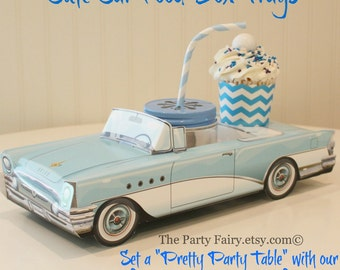 Car Food Box-Set of 6 Blue & White Car Food Box-Cute Kids Party Box-Vintage Car Food Tray-Lunch Box-Classic-Retro Drive-In Car Food Tray