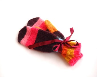 Cute winter mittens for women, christmas gift, accessory, rainbow