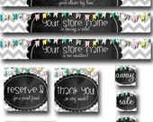 PreMade Etsy Banner Set - Chalkboard Bunting - Simple & Custom! Facebook Timeline Cover and Business Cards Available Too!