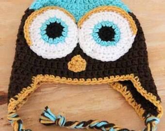 Crochet Owl Hat - Custom Made - You pick colors