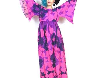 50% OFF SALE 70s Hawaiian Floral Print Maxi Dress Angel Sleeve Drses Tropical Print Dress Neon Pink Purple Hippie Vacation Dress (S/M)