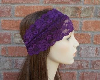 Purple Lace Headband Bohemian Hair Accessories Lace Headwrap Bohemian Hair Wrap Boho Head Wrap Stretch Lace Head Band Stretchy Headband