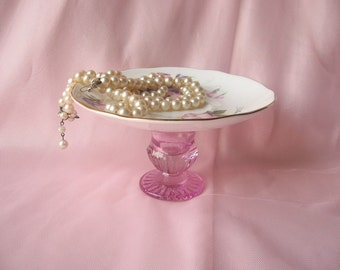 Upcycled Vintage Pink Rose Plate Ring Holder/Business Card Holder/Soap Dish