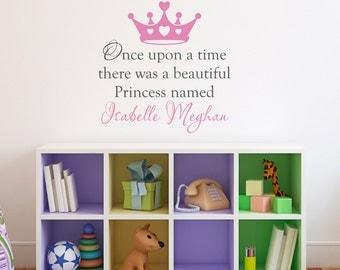 Girl Name Wall Decal - Princess Crown Decal - Once upon a time - Medium