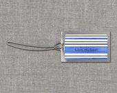 Blue and Gray Horizontal Stripes Personalized Bag Tags - Custom Backpack Tags, Diaper Bag Tags, Luggage Tags