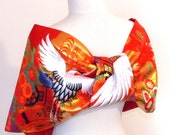 Vintage wedding KIMONO Shawl butterfly red white crane spring flower gold evening party bow OBI size free made to order