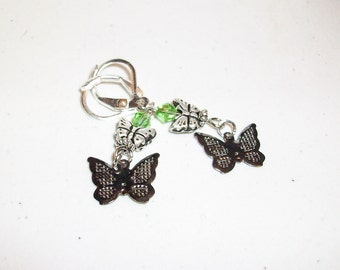 Butterfly Dangle Earrings Silver and Black or Pink   Free Shipping in USA