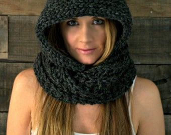 Chunky Hooded Cowl Infinity Scarf / THE EMPIRE / Stone Quarry