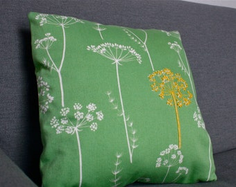 Yellow Queen Ann's Lace Hand Embroidered Decorative Pillow Sham