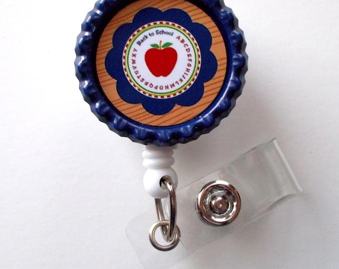 Apple Navy - Retractable Badge Reels - Teacher Badge Holder - School ID Badge Reel - Teacher Appreciation Gift - Preschool Teacher Badge