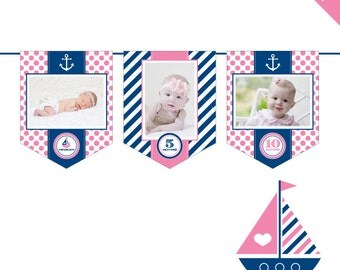 INSTANT DOWNLOAD Pink Nautical Party - DIY printable photo banner kit
