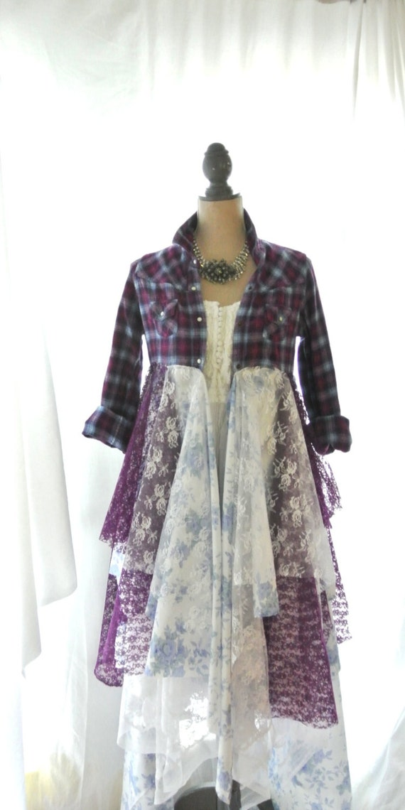 Flannel Jacket Gypsy Vagabond Coat Bohemian By