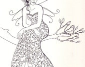 Fairy Drawing Fairy on a Tree ORIGINAL Ink Drawing