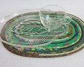 Eco Green Oval Coiled Mat / Placemat / Hot Pad / Trivet by PrairieThreads