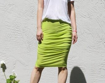 Shirred Jersey Skirt- Neon Yellow
