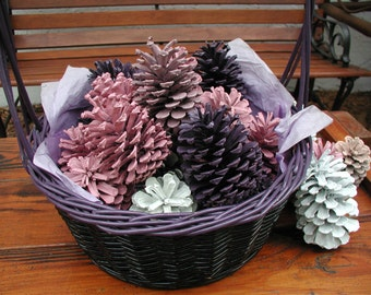 Valentine Basket, Painted Pink Pinecone, Colorful Pinecone, Basket of Painted Pinecone, Floral Arrangement, Valentine Table Centerpiece