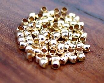 100 or 500 pcs 2 mm Crimp Beads,  Gold Plated Brass 1.5 mm Inner Diameter