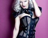 Striped mesh couture cape with bow