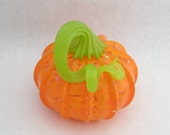 blown glass pumpkin opaque ORANGE with green stem