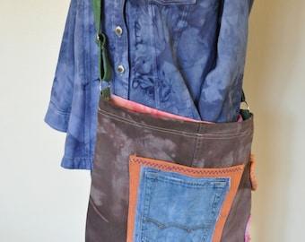 Dyed Denim Handbag Satchel - Hand Made Unique Hand Dyed Upcycled Denim Handbag Over the Shoulder Messenger Book Bag Tote 26