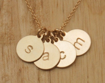 Gold Disc 4 Initials Necklace - Gold Initials Necklace - Gold Mom Necklace - Simple Gold Necklace Personalized Jewelry - 4 Kids Names Charms