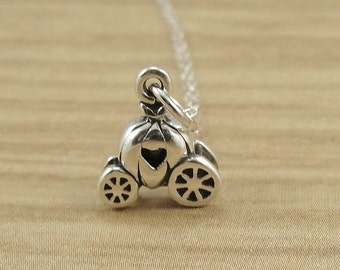 Pumpkin Carriage Necklace, Sterling Silver Pumpkin Carriage Charm on a Silver Cable Chain