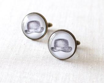 SALE -50% OFF. Vintage Hat Cufflinks. Bowler Hat Cuff Links. Victorian Cufflinks. British Hat Cufflinks. Derby Hat Cufflinks.