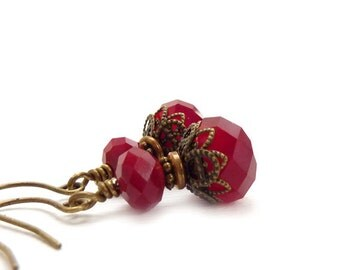 Ruby Red Earrings - Vintage Style Dangle Earrings - Wire-Wrapped Earrings - July Birthstone