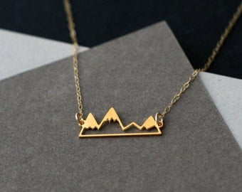 gold mountain necklace, mountain jewelry, gold mountain range, mountain necklace, mountain range, gift for her, gift under 50