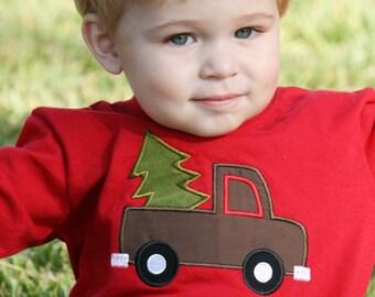 Boys Christmas Shirt - Christmas Tree Truck Shirt - Toddler Christmas Shirt