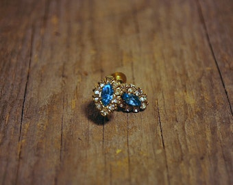 Vintage 1950s clip earrings clear rhinestone and blue