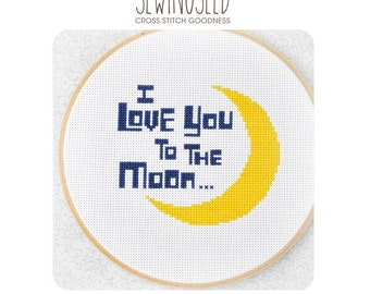 Cross Stitch Pattern, I love you to the moon, Instant Download