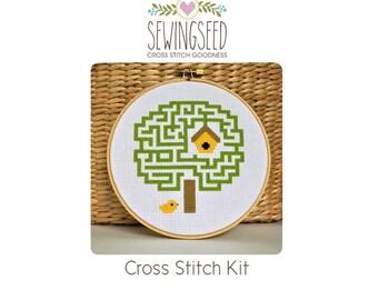 Maze Tree Cross Stitch Kit, DIY Embroidery Kit, Nursery, DIY Kit, Whimsical Cross Stitch, Gift Idea