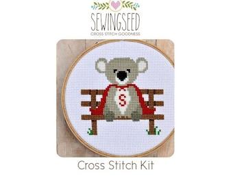 Super Koala Cross Stitch Kit, DIY Super Hero Animal Embroidery Kit, DIY Kit, Unique Gift Idea