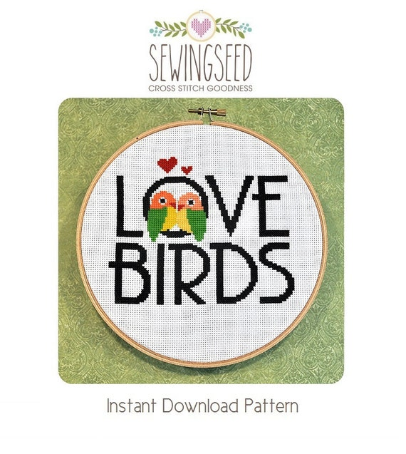 Love Birds Cross Stitch Pattern Instant Download